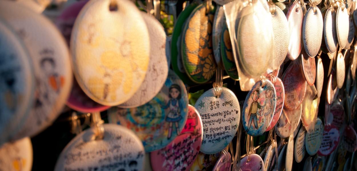 Love cadenas à Ssamziegil dans le quartier d'Isadonggil à Séoul