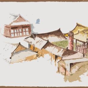 Les toits de Jeonju: série de travaux à partir d'une aquarelle sur papier Fabriano déclinée en plusieurs effets graphiques.