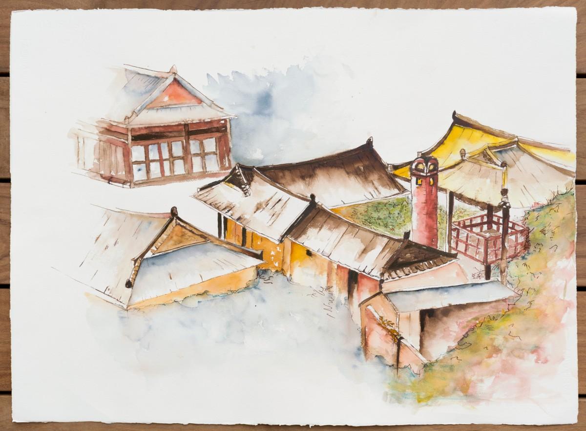 Les toits de Jeonju: série de travaux à partir d'une aquarelle sur papier Fabriano déclinée en plusieurs effets graphiques
