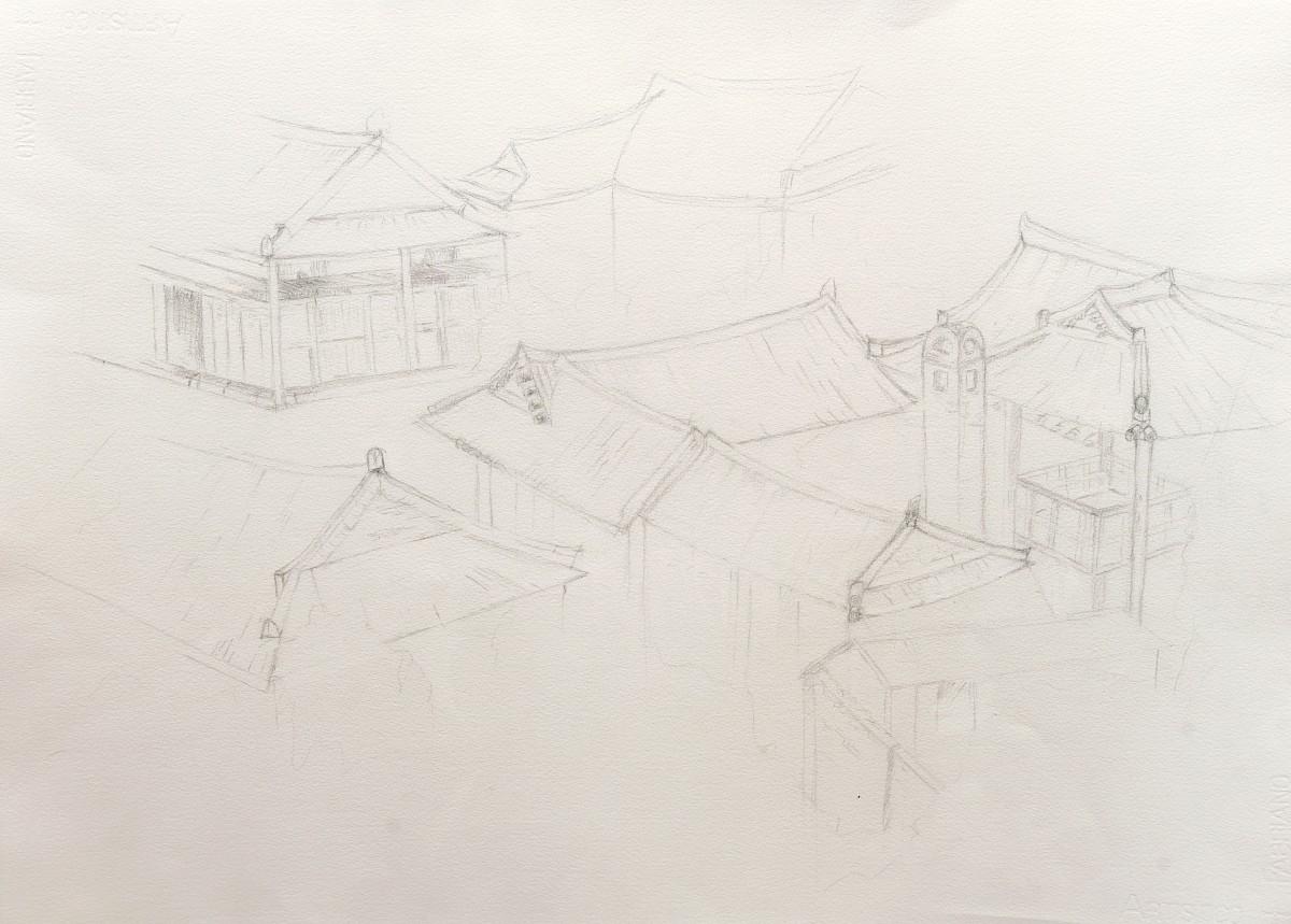 Panorama sur Jeonju: dessin préparatoir pour une aquarelle