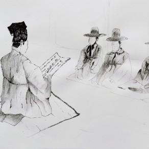 Croquis à la mine de plomb, rotring et graphite aquarellable de moines confucéens au monastère de Dosan Seowon en Corée du Sud