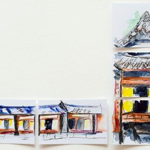Feutre et aquarelles ShinHan sur cartes de visites.